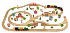 Tidlo Wooden Train Set (100 Piece) - Helicopter view.