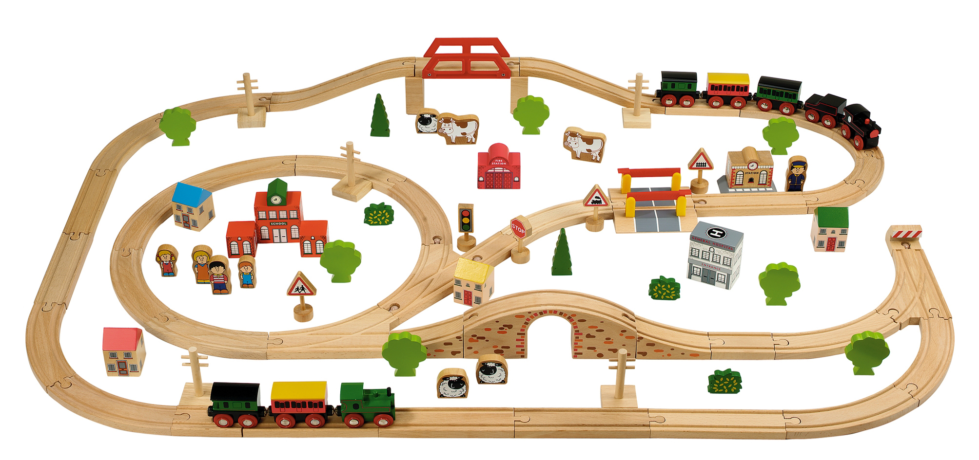 Tidlo Wooden Train Set 100 Piece