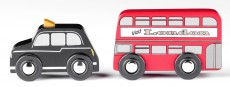 Tidlo Red Bus and Black Cab