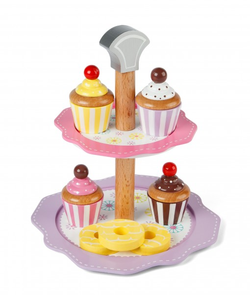 Tidlo Cake Stand Set - 2 Tier Cake Stand with Cakes and Biscuits